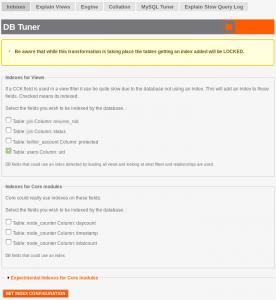 dbtuner indexes 276x300 DBTuner   Optimiser les performances de MySQL pour Drupal
