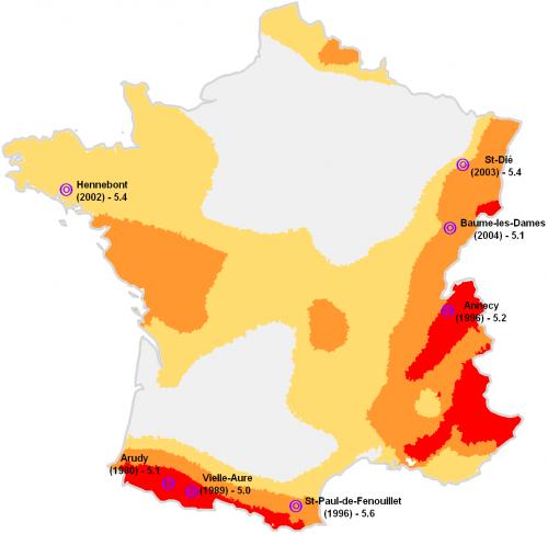 Séismes de magnitude locale supérieure à 5.0 survenus en Métropole depuis 1980
