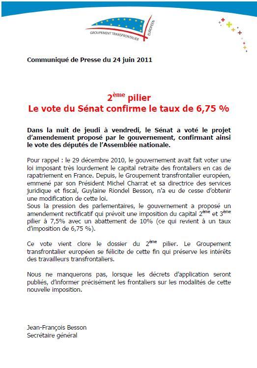 2ème et 3ème pilier : la taxation sera bien de 6,75% (taux réel)