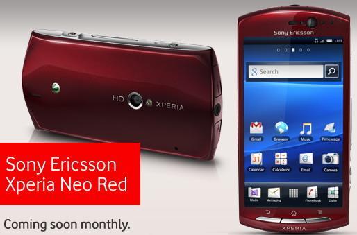 Sony Ericsson Xperia Neo red Sony Ericsson voit rouge