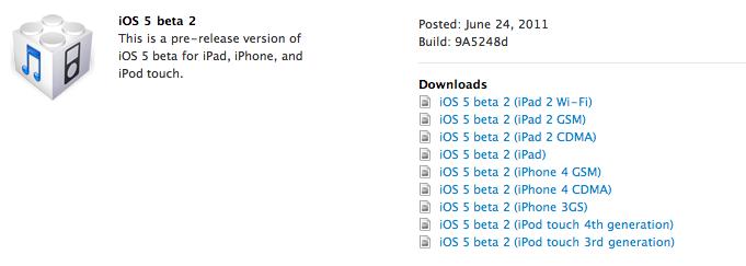 iOS 5 bêta 2 disponible pour iPhone, iPod et iPad