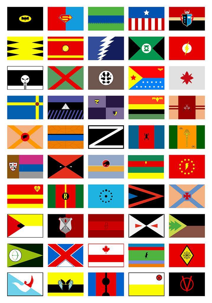 Les super héros en drapeaux