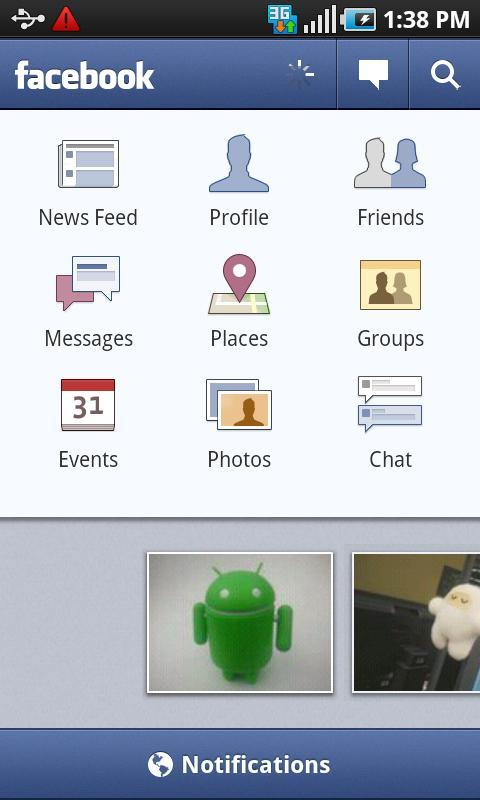 Facebook passe à la version 1.6 sous Android
