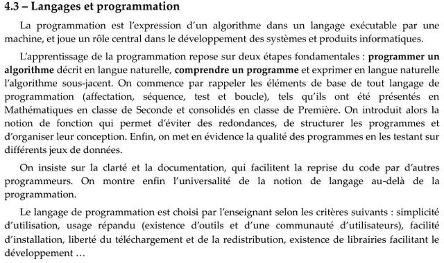 Choix d'un langage de programmation