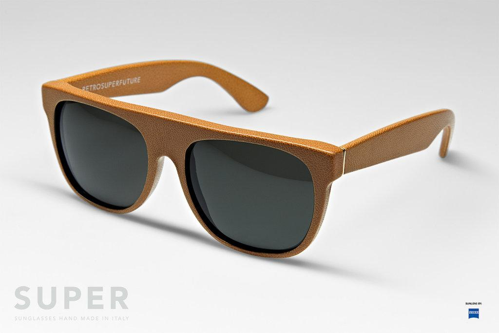 flat top leather super lunettes