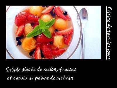 Soupe glacée de melon, fraises et cassis au poivre de sich
