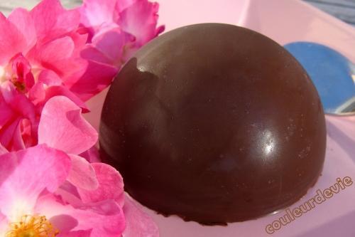Parfait glacé au Baileys en coque de chocolat et parfait glacé au café coque chocolat/noisettes