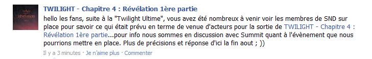 [Breaking Dawn] SND est en discussion avec Summit pour un événement en France