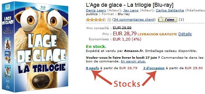 Indicateur du stock sur Amazon
