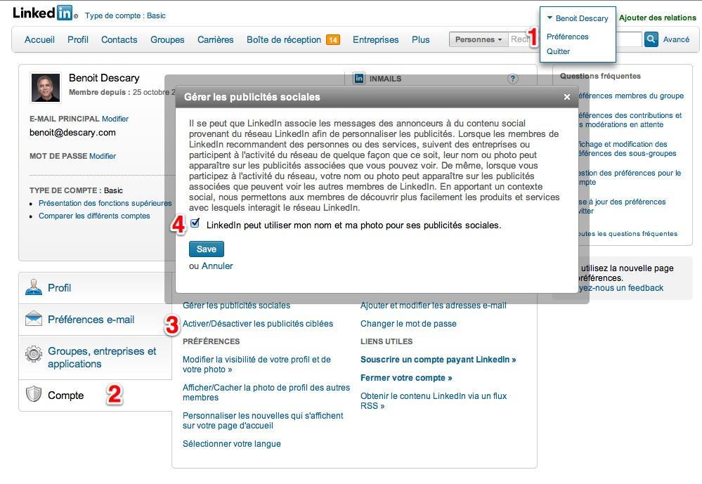 linkedin compte pub Linkedin votre nom et votre photo peuvent apparaître sur des publicités sociales