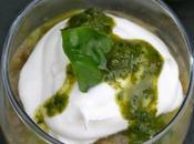 Caviar d'aubergine, mousse mascarpone coulis basilic