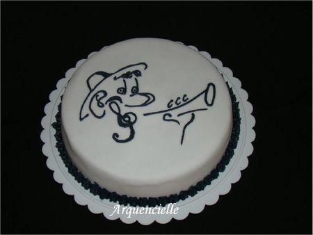 Gâteau musique caricature musicien arpège