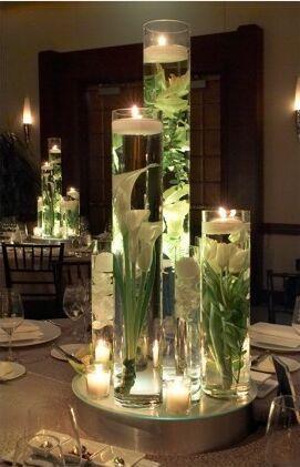 4 centres de table avec fleurs immergées