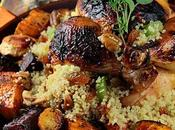 Poulets Cornouailles farcis couscous fruits, glace l'orange épicée