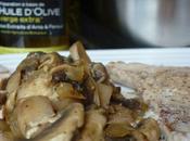Escalope veau champignons, sauce crème soya, huile d'olive fenouil