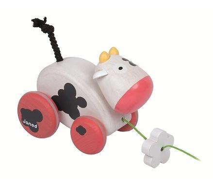 jouet tirer en bois vache une compagne de jeu rigolote pour b b d couvrir. Black Bedroom Furniture Sets. Home Design Ideas