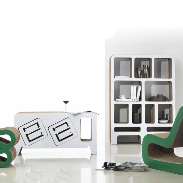 des meubles en carton 100 recycl et 100 design d couvrir. Black Bedroom Furniture Sets. Home Design Ideas