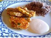 recette Epices fortes Galettes poisson crevettes grises, piment gingembre avec sauce fromage blanc