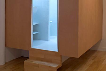 un cube salle de bains dans un petit appartement d couvrir. Black Bedroom Furniture Sets. Home Design Ideas