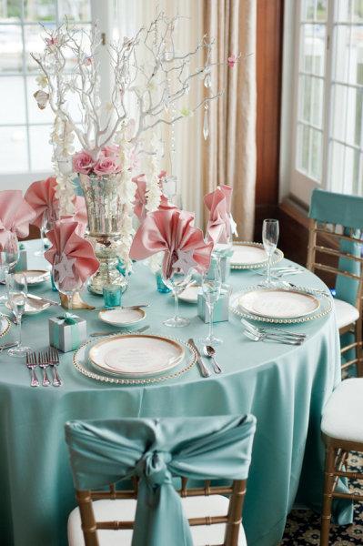 Deco de mariage rose clair et bleu tyffany thème mer {vintage ...