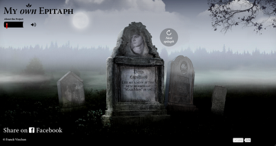 Application 'My Own Epitaph' pour le livre 'Tranches de mort'