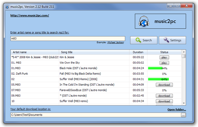 music2pc, Version 2.12 Build 211