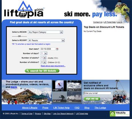 Page d'accueil du site liftopia.com