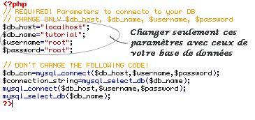 Connexion à la base de données