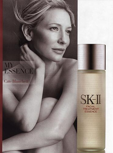 Cate Blanchett dans les publicités des produits cosmétiques SK-II / Seann William Scott donnant signe de vie au défilé de mode d'Ashley Paige