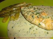 Papillote blanc poulet asperges sauce mousseuse l'estragon citronnelle