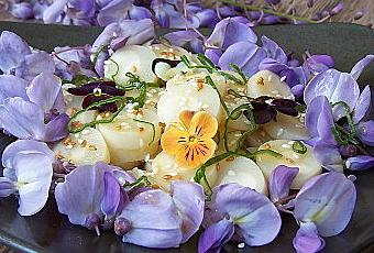 salade de fleurs de glycine et coeurs de palmier voir. Black Bedroom Furniture Sets. Home Design Ideas