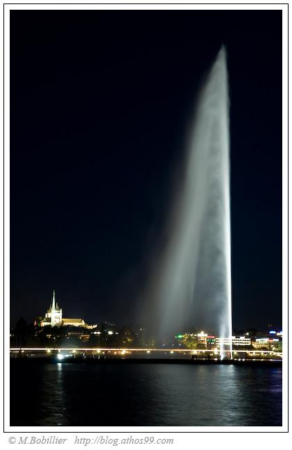 Jet d'eau et la cathédrale de Genève