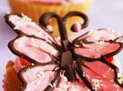 Envie papillons roses: Butterfly strawberry cupcakes