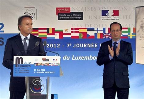 François Hollande et Jean-Pierre Bel, président du Sénat. (Paris 10-05-2012)