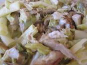 Linguines tagliatelles poireaux/poulet/chèvre sauce savora