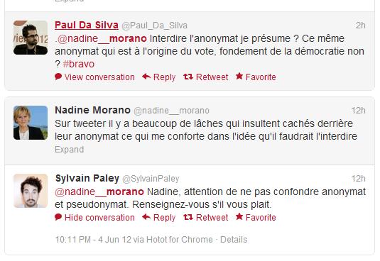 Capture3 Nadine Morano veut faire interdire lanonymat sur twitter