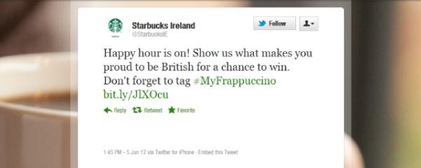 starbucks tweet 600x240 Starbucks : une gaffe sur twitter provoque lire... des irlandais