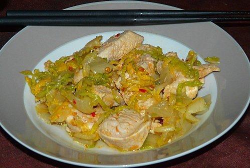 Poulet pic au chou chinois recette l g re voir - Cuisiner du choux chinois ...