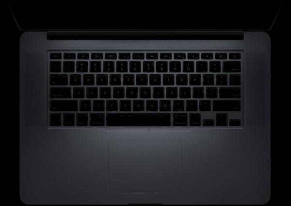 keyboard unlit 600x424 Apple dévoile le Next Generation MacBook Pro avec écran Retina Display