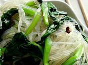Salade vermicelles avec pousses d'épinard 菠菜粉丝 bócài fěnsī