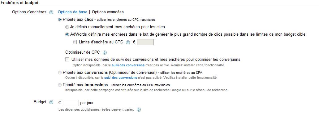 Définir le CPC campagne google adwords