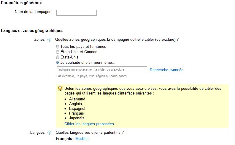 Ciblage géographique et linguistique campagne google adwords