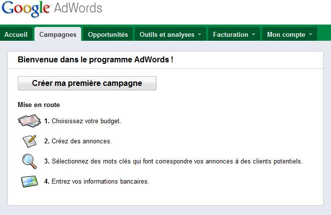 Lancement de votre campagne adwords