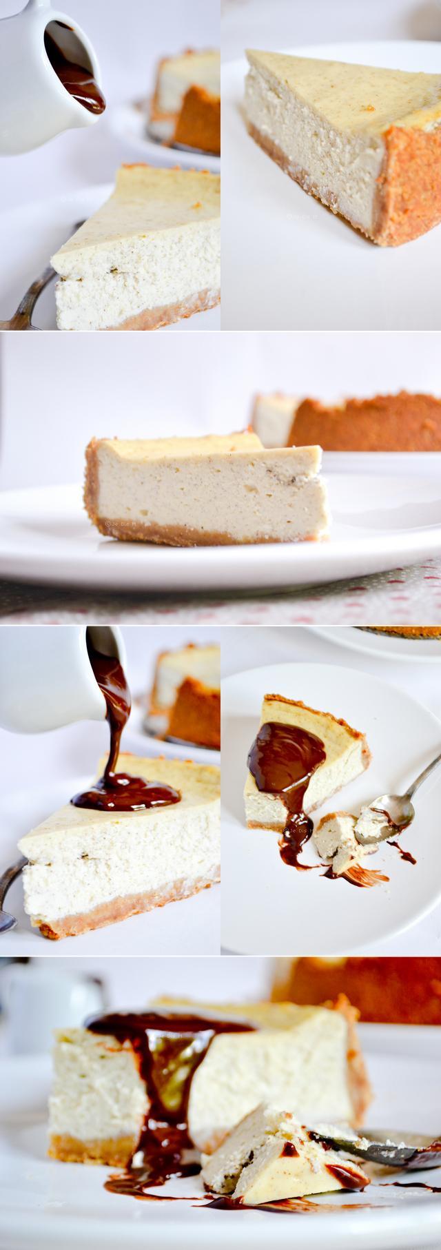 New York Cheesecake et sauce chocolat