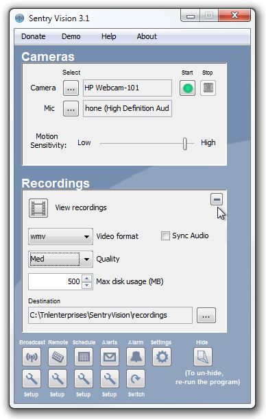 Sentry Vision Recording options