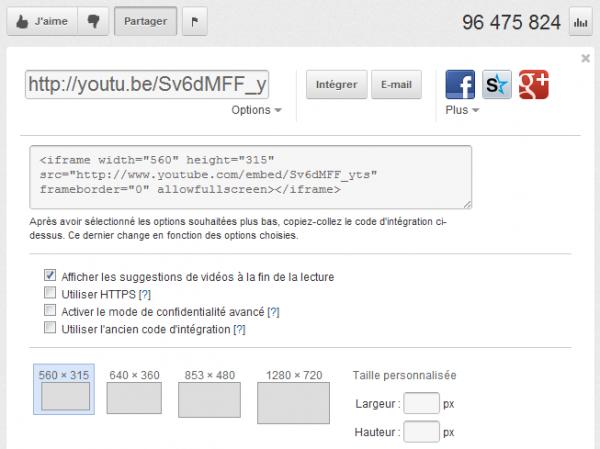 Intégrer une vidéo Youtube en définissant le début et la fin du visionnage