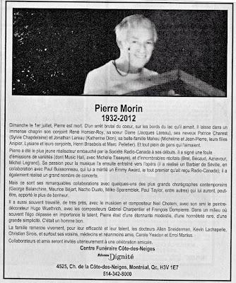 Le conjoint de René Homier-Roy, Pierre Morin, est décédé!