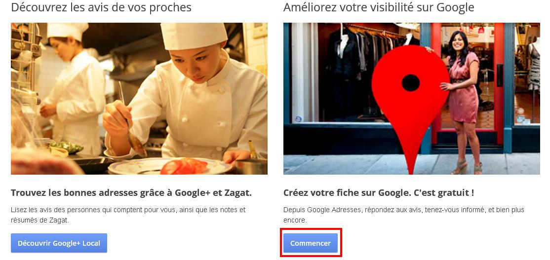 Google création d'une page Google + Locale
