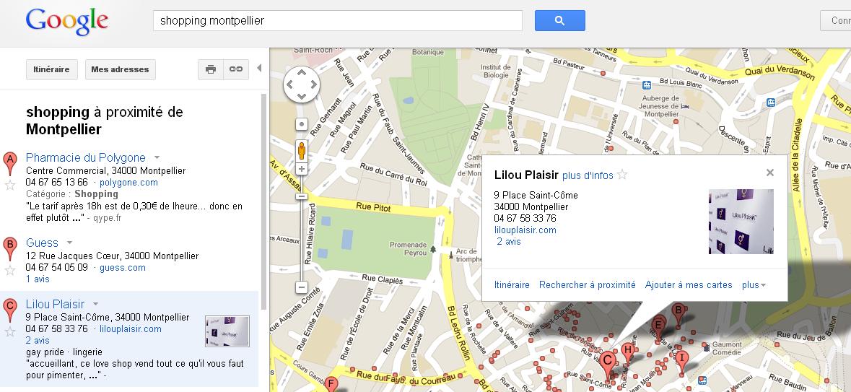 Référencement local dans les pages Google Maps