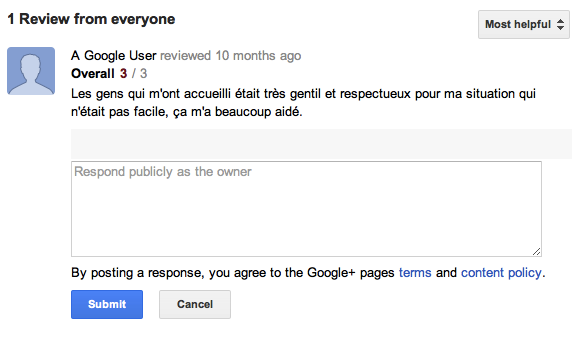 Exemple d'avis utilisateur Google + Local